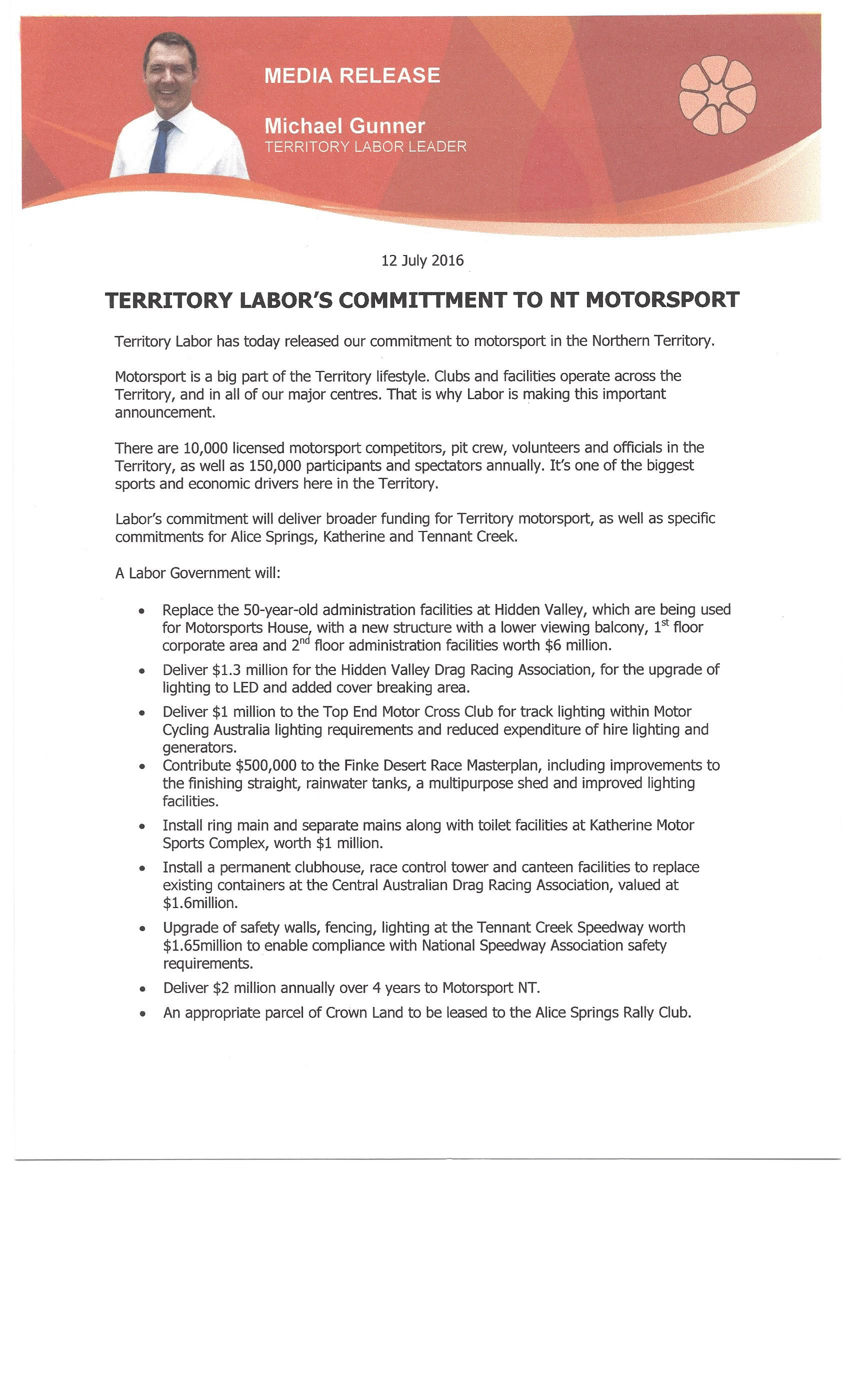 Labor commitments1
